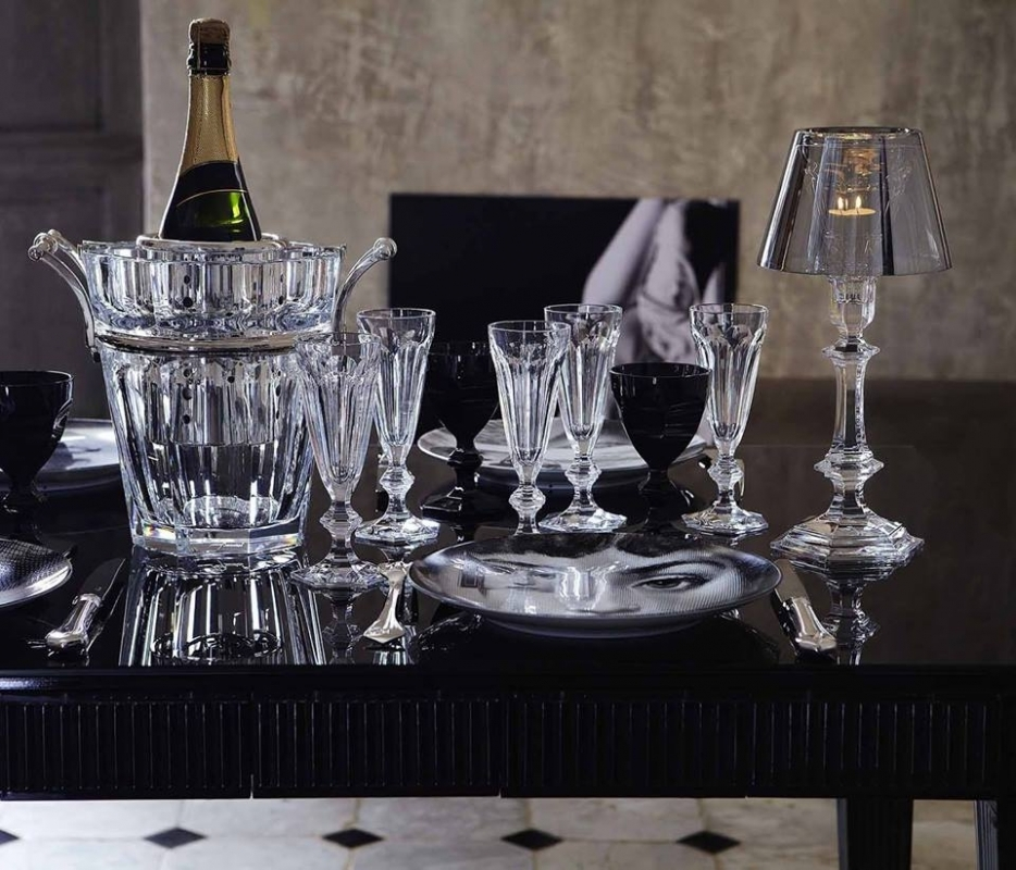 Crystal champagne glasses and champagne cooler HARCOURT; candle holder OUR FIRE by PHILIPPE STARCK